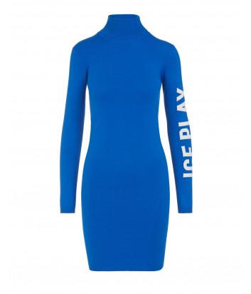 Трикотажное мини-платье ICE PLAY AH019012 синие с логотипом на рукаве