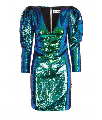 Мини-платье ICE PLAY H1516501 в пайетках с пышными рукавами