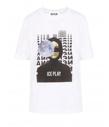 Белая футболка ICE PLAY F085P430 с принтом