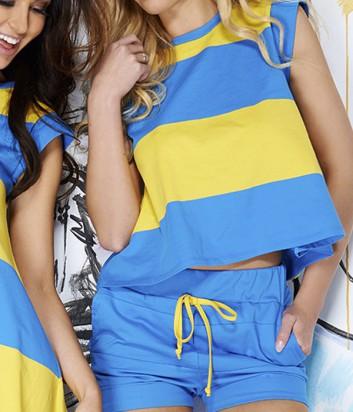 Комплект Pigeon 108 футболка и шорты в желто-голубую полоску