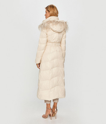 Длинный пуховик-пальто TWIN-SET 202TT2120 молочный