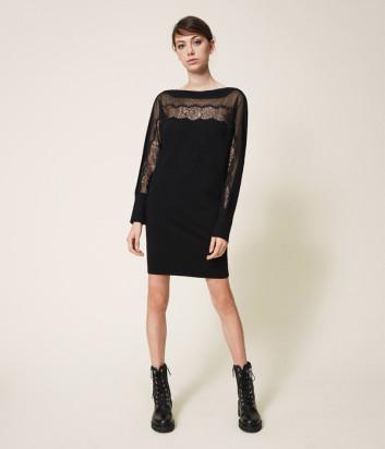 Трикотажное платье TWIN-SET 202TP3380 с кружевом черное