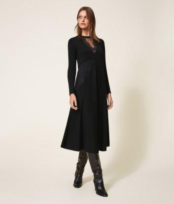 Трикотажное платье TWIN-SET 202TT3130 с кружевом черное