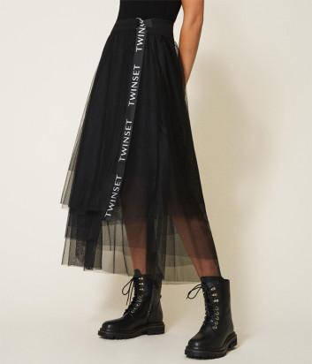 Пышная юбка TWIN-SET 202TT2T56 черная с логотипом