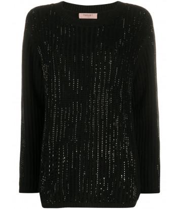 Черный джемпер TWIN-SET 202TP3090 декорированный стразами