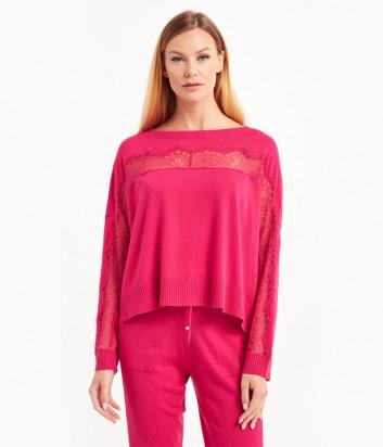 Трикотажный костюм TWIN-SET 202TP3382/84 с кружевными вставками розовый
