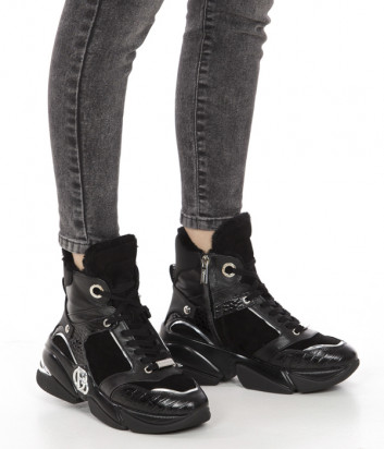 Высокие кроссовки BALDININI 114341 на меху черные