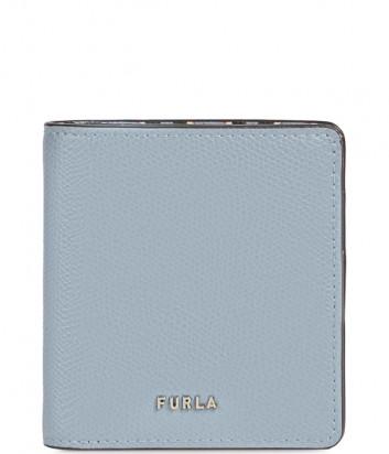 Кожаный кошелек на кнопке FURLA Babylon PCY6UNO голубой с принтом колибри внутри