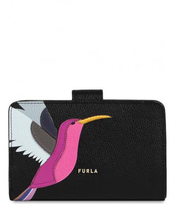 Кожаный кошелек FURLA Babylon WP00024 черный с изображением колибри