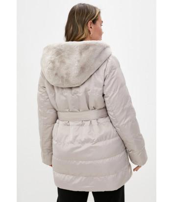 Двухсторонняя шуба-куртка SEVENTY PE0117 серо-бежевая