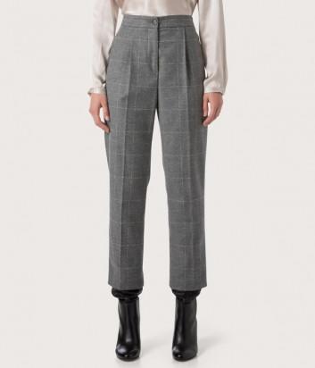 Укороченные брюки SEVENTY PT0932160197921 серые в клетку с люрексом