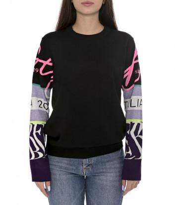 Женский свитер ICEBERG A0037010 черный с цветными рукавами