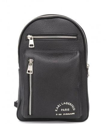 Маленький кожаный рюкзак KARL LAGERFELD 815904 502451 с внешними карманами черный