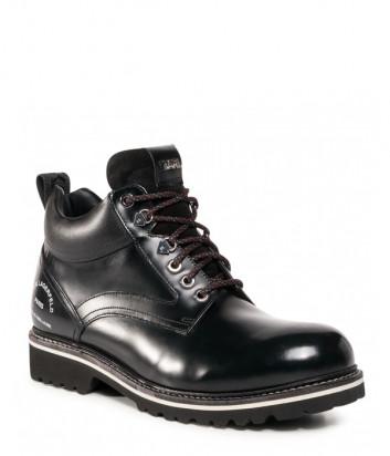 Кожаные ботинки KARL LAGERFELD KL11045 черные с логотипом