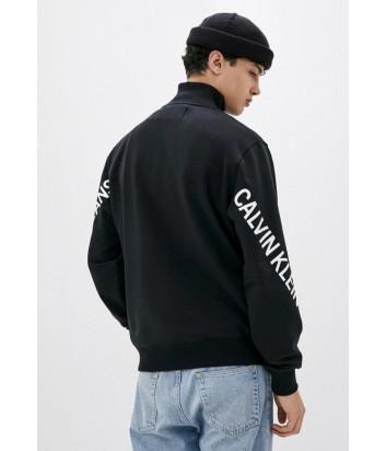 Флисовый свитшот CALVIN KLEIN Jeans J30J316523 с воротником на молнии черный