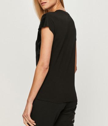 Черная футболка EA7 Emporio Armani 6HTT22 TJ12Z с велюровым пятнистым принтом