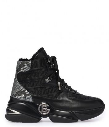 Кожаные ботинки BALDININI 114300 на меху черные