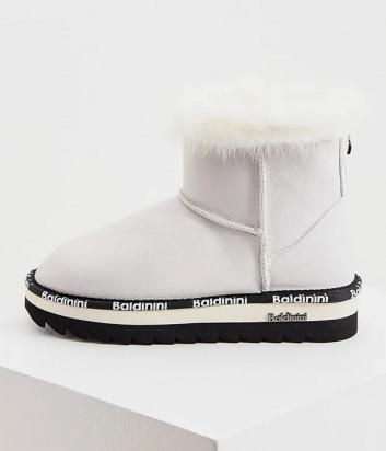 Кожаные угги BALDININI 148175 белые с брендированной тесьмой
