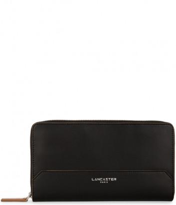 Кожаное портмоне LANCASTER Smooth 128-77 на молнии черное