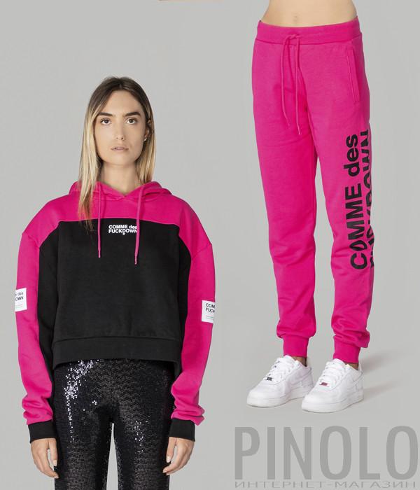 Костюм COMME des FUCKDOWN CDFD1234/1129 комбинированная толстовка и розовые брюки