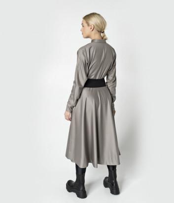 Длинное платье UNLABEL ELM2 серое с черным поясом