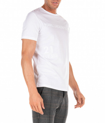 Белая футболка KARL LAGERFELD 755033 502224 с бархатным логотипом