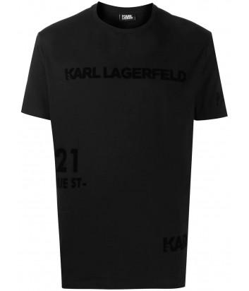 Черная футболка KARL LAGERFELD 755033 502224 с бархатным логотипом