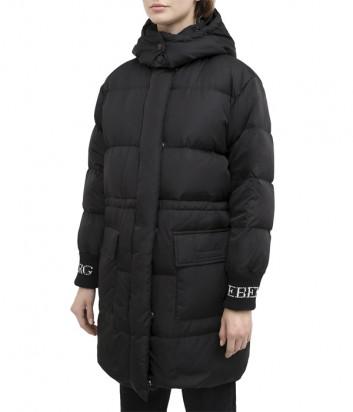 Длинный пуховик ICEBERG J0315050 с капюшоном черный