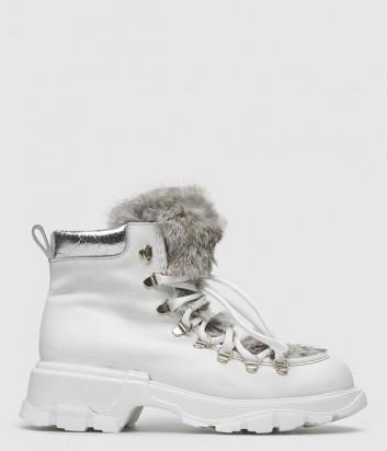 Кожаные ботинки FRU.IT 5955 с мехом белые