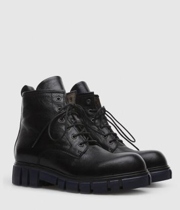 Кожаные ботинки FRU.IT 4794 черные на синей подошве