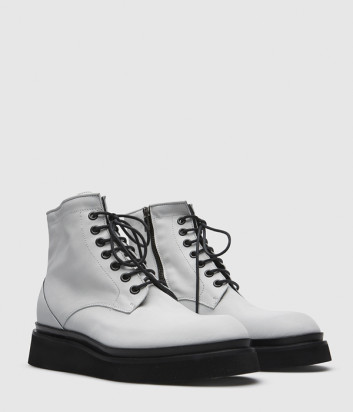 Кожаные ботинки FRU.IT 5627 на шнуровке белые