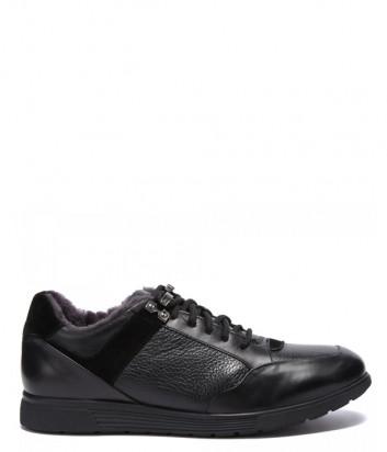 Кожаные кроссовки BALDININI 147030 на меху черные