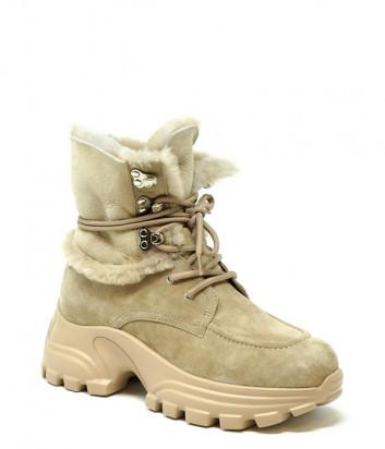 Замшевые ботинки FRANCESCO V. G22 на меху бежевые