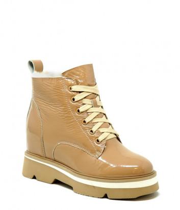 Лаковые ботинки FRANCESCO V. G37 на меху бежевые