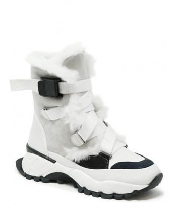 Замшевые ботинки FRANCESCO V. G127 на меху серо-белые