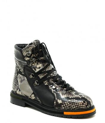 Кожаные ботинки FRANCESCO V. G124 со змеиным принтом
