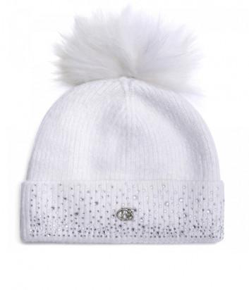 Белая шапка BALDININI 121707 с бубоном и декором