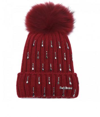 Шапка BALDININI 121707 с бубоном и декором красная