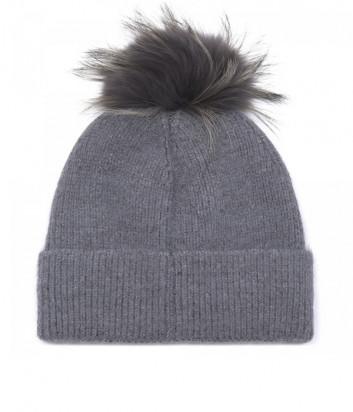 Серая шапка BALDININI 121707 с бубоном и декором