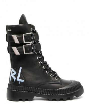 Кожаные ботинки KARL LAGERFELD KL45285 на шнуровке с пряжками