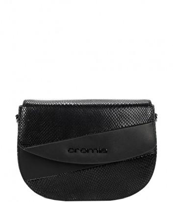Кожаная сумка через плечо CROMIA 1404674 с принтом под змею черная