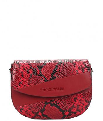 Кожаная сумка через плечо CROMIA 1404674 с принтом под змею красная