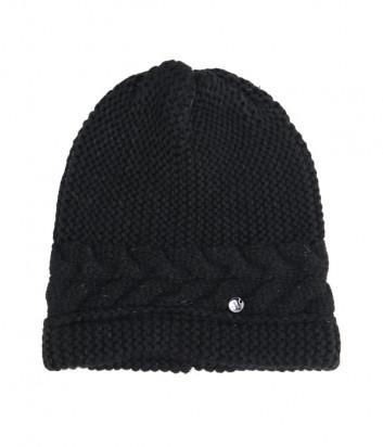 Черная шапка LIU JO 2F0028 с узором «косы» и люрексом