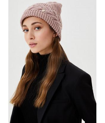 Пудровая шапка LIU JO 2F0028 с узором «косы» и люрексом