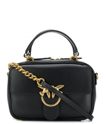 Кожаная сумка PINKO Love Square Simply Mini 1P21UD с внешним карманом черная