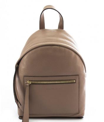 Кожаный рюкзак COCCINELLE Jen Mini с внешним карманом бежевый