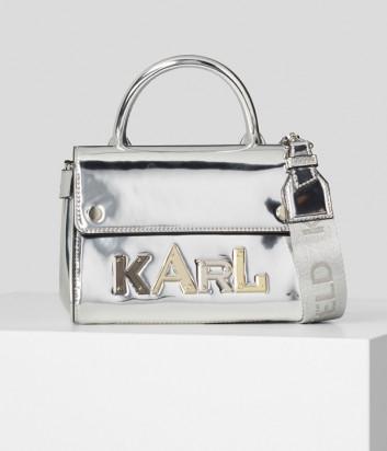 Мини-сумка KARL LAGERFELD Ikon 210W3039 с зеркальным эффектом серебристая