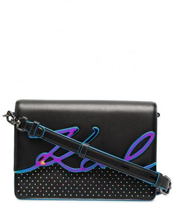 Кожаная сумка KARL LAGERFELD 210W3017 черная с переливающимся логотипом