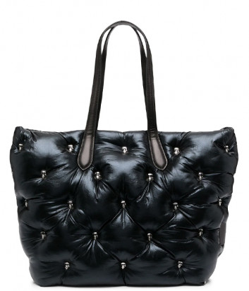 Глянцевая стёганая сумка-тоут KARL LAGERFELD Ikonik 210W3017 со значками черная