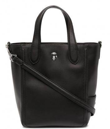 Кожаная сумка KARL LAGERFELD Ikonik 210W3076 со значком черная